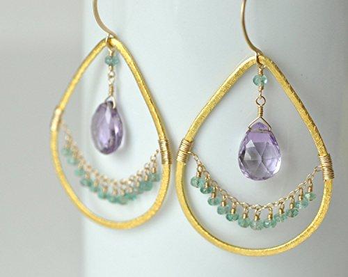 (Amethyst Teardrop Earrings - Emerald Earrings - Gold Vermeil & Gold Filled Chandeliers - Exotic Chandelier Earrings - February Birthstone, May Birthstone)