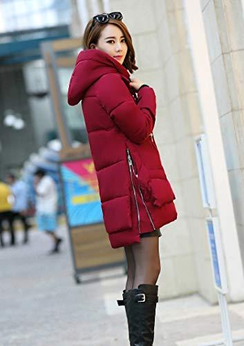 Mujer Winered Fiesta Grande Elegantes Outdoor Chaqueta Manga Larga Espesar Casuales Parkas Caliente Outwear Talla Invierno Anchas Pluma Fashion Encapuchado UwwP5q