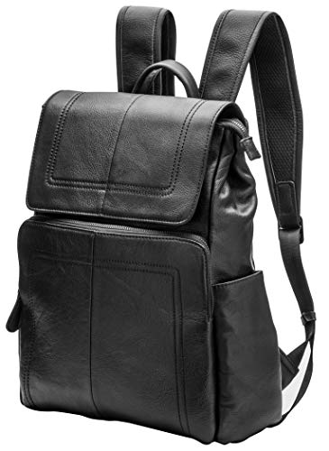 Genuine Leather Laptop Backpack Casual Daypack Travel School Bag for Men and Women Black - Backpack Leather Tech