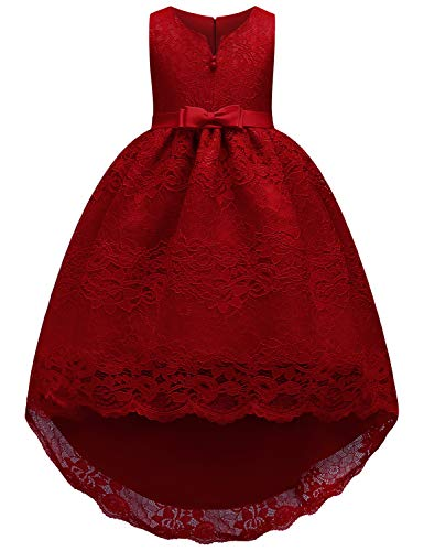 JOYMOM Prom Dresses for Girls 10-12,Juniors Trendy V Neck Sleeveless Empire Waist Tiered Evening Gowns Student Concise Satin Belt Mesh Party Wear Dark Red 160(11-12Y) ()