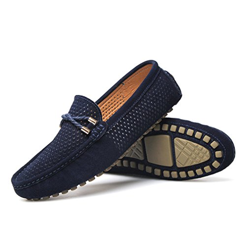 Scarpe Scarpe Blue Uomo traspiranti barca Estate in Uomo da Mens Mocassini pelle Slip scamosciata Casual On Scarpe awqa4HEAr
