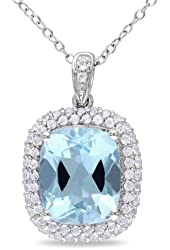 Sterling Silver White Topaz and Blue Topaz Cushion Cut Pendant 18''