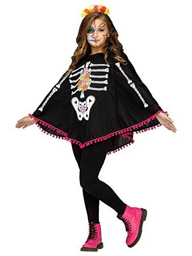 Fun World Little Girl's Day of The Dead Child Poncho Costume Childrens Costume, White, Standard ()
