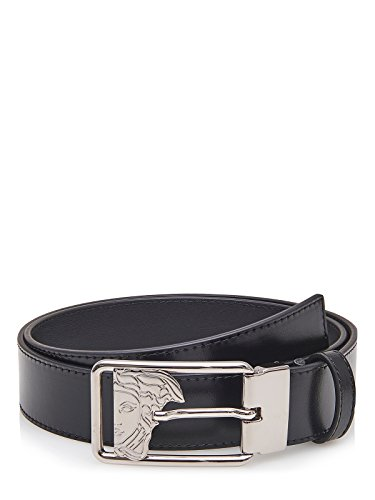 Versace Collection Men's Medusa Steel Buckle Leather Belt - Collection Versace Medusa