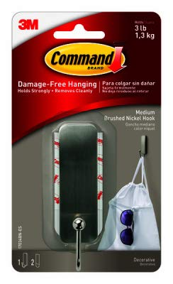 (Command 17034bn-es Brushed Nickel Decorative Hook with 2 Strips, Medium)