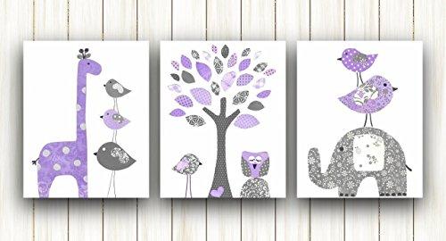Nursery decor kids wall art - Baby Girl Nursery Art - Set of three prints - Elephant Owl Tree Birds purple and gray (Canvas Nursery Decor Art)