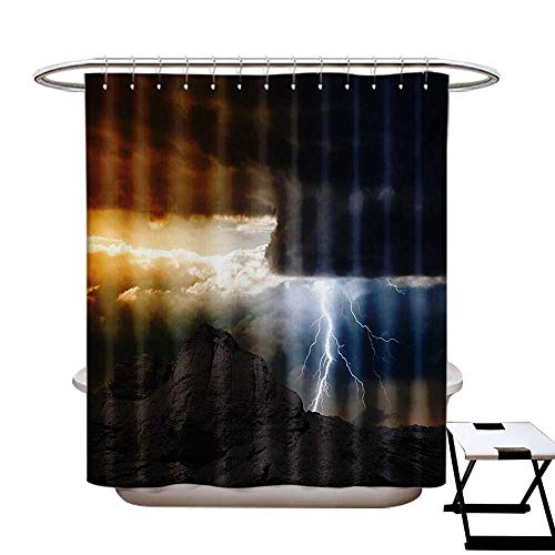 (Nature Shower Curtain Collection by Thunder Rays from Dark Clouds Hitting Down to The Mountain Storm Theme Art Print Patterned Shower Curtain W36 x L72 Grey Orange)