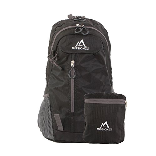 Mission Peak Gear Fast 2100 30L Foldable Packable Hiking Backpack Daypack, Ultra Lightweight, Durable Light Backpack, Camping, Outdoor, Travel, Biking, School, Carry On Backpack (Black)