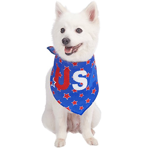 (Blueberry Pet 3 Patterns National Pride Patriotic 'USA' Designer Dog Bandana, 31.5