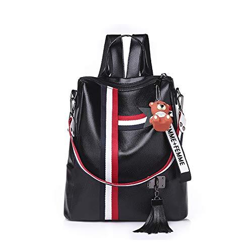 Bandoulière Voyager Fille Doux Imperméable SDINAZ à Sac à Cartable Stripe Sacs Noir épaule Dos Sac Cuir PU Polyvalent Mode Ecole Loisirs xwPw1q