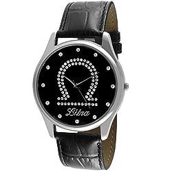 Crystal Studded Face Zodiac Horoscope Black Leather Silver Watch - Libra
