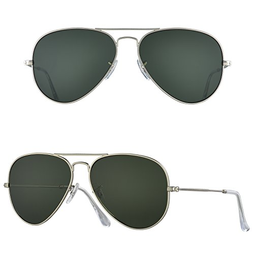 BNUS Corning natural glass New Pilot Sunglasses Italy made with Polarized Choices (Frame: Matte Silver / Lens: Green G15, - Sunglasses B&e