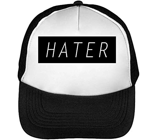 Hater Black Framed Slogan Gorras Hombre Snapback Beisbol Negro Blanco