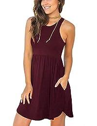 a4a80e5d1b57 Women's Sleeveless Loose Plain Dresses Casual Short Dress with Pockets