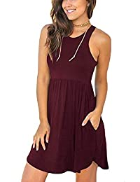 6de26cbfe53 FANSKY Women s Summer Sleeveless Cover Up Casual Loose Tank Dresses with  Pocket