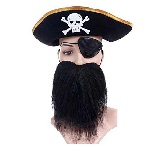 Euone  Halloween Clearance , 3 pcs/1 Set Pirate Props Hat Cap Moustache Beard Goggles Eye Mask Halloween Toys Decor