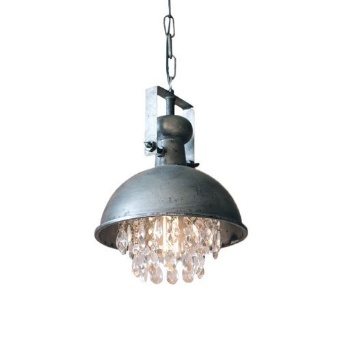Kalalou Large Metal Pendant Lamp in Gun Metal Gray with Dangling Crystals (Metal Large Pendant Light)