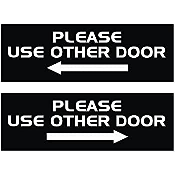 All Quality PLEASE USE OTHER DOOR Sign   (2 Pack) (Black)