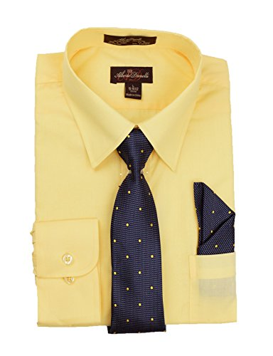 Bar Yellow T-shirt - Alberto Danelli Men's Slim Fit Long Sleeve Dress Shirt Set with Matching Tie and Handkerchie Set, Canary, Large 16 33/34