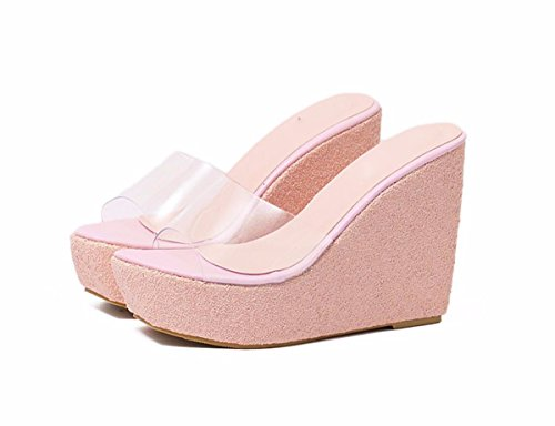 Talón Verano Zapatos de Suela Mujer Cristal Cool Plataforma Todo De Impermeable white Gruesa Super Sexy Talud Sandalias Alto Tacon Zapatillas 15Cm Transparente GTVERNH d8qtn8