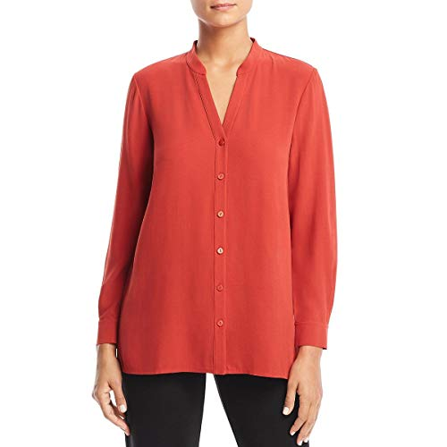 Eileen Fisher Silk Tunic - Eileen Fisher Womens Silk Button-Down Blouse Orange L