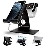 Apple Watch Stand, ZVEproof 2 in 1 Universal Desktop Cellphone Stand and Apple Watch Stand, Aluminum iWatch iPhone Tablet Charging Station Stand Dock for Phone and Apple Watch, Black