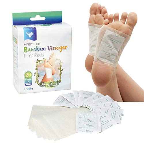 Bamboo Vinegar Foot Pads - Natural Pain/Stress/Sleep/Herbal/Odor Effective Relief - Full Body Cleanse Stress Relief - Foot Care Pad - Nature Plant Based - Odor Free - 20 Foot Pads & Adhesive Sheets
