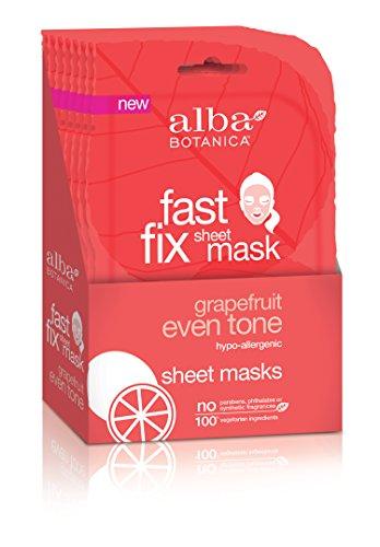 Alba Botanica Fast Fix Sheet Mask, Grapefruit Even Tone, Pack of 8