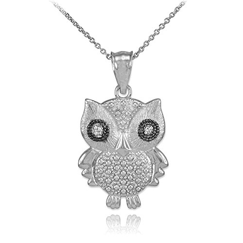 14k White Gold Diamond Owl Charm Pendant Necklace, 22