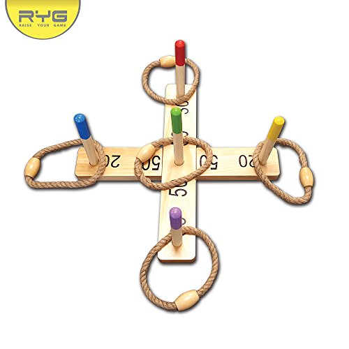 Wood Base Set - RYG Wooden Ring Toss Game Set, Durable Wood Base, 5 Wood Pegs 5 Rope Rings, Portable Indoor And Outdoor Family Quoits Games, Suitable For Kids & Adult