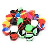 CEOKS 24pcs Non-Stick 5ml Silicone Container Jars Oil Wax Multi-Color Kitchen Storage Rubber Container (24)