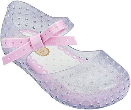 Mini Melissa Girls' Mini Furadinha X Ballet Flat, Clear Glass Sparkly, 10 Medium US Toddler