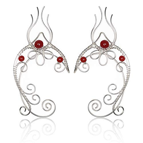 Fantasy Elf Costumes - Elven Ear Cuffs, OwMell 1 Pair Beads Filigree Deer Fairy Elf Ears