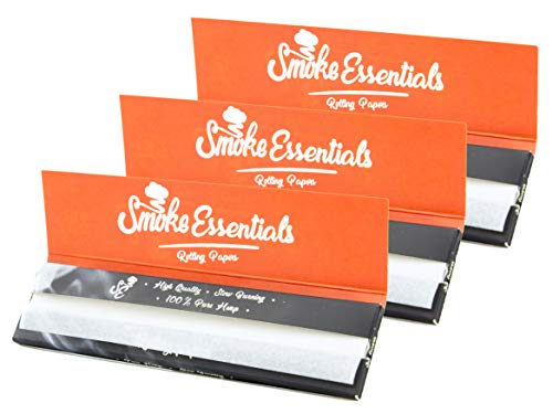 Hemp Rolling Papers King Size Slim 3 Pack Bundle | Smoke Essentials Natural Cigarette Smoking Paper | Slow Even Burning
