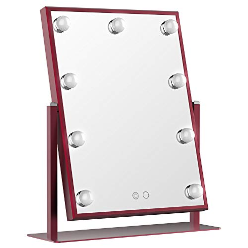 BEAUTME Hollywood Vanity Mirror with Light Tabletop Lighted Makeup Mirror with Dimmer - Mirrors Red Vanity Bathroom