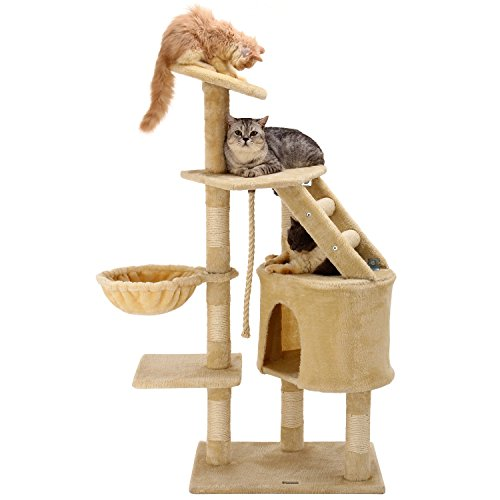 Ollieroo-48H-Cat-Climbing-Tree-Tower-Condo-Scratcher-Furniture-Kitten-House-Hammock-with-Scratching-Post-and-Toys-for-Cats-Kittens-Playhouse