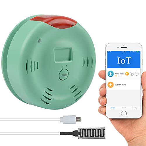 Smart Wi-Fi Water Alarm, Water Leak Detector with Sensor Cable 80dB Loud Sound, Warning Light and iOS App (Push Message,Ring) Overflow Flood Leakage Alert for Water Heater Sink Basement Sump Pump