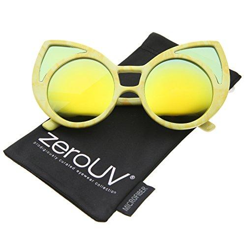 c58b52cc91a4 zeroUV - Women s Oversize Colored Frame Mirror Lens Cat Eye Sunglasses 52mm  (Yellow   Yellow
