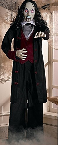 Standing 5-ft Gothic Man Vampire Groom in Black w/Red Lighted Eyes Halloween Prop 60 Inches -