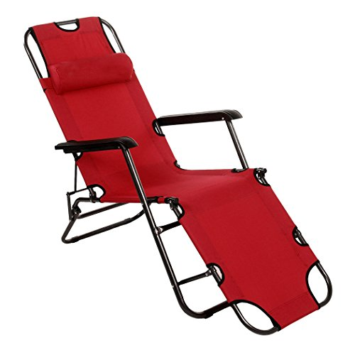 Folding Chaise Lounge Chair Patio Outdoor Pool Beach,Army red New
