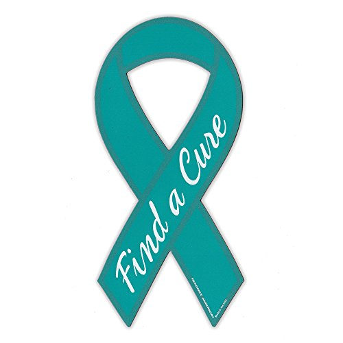 Magnetic Bumper Sticker - Find A Cure - Ovarian Cancer Support Ribbon - Awareness Magnet - 3.75