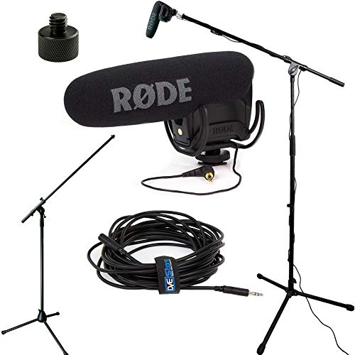(RODE VideoMic Pro R Studio Boom Kit - VMPR, Boom Stand, Adapter, and 25' Cable)