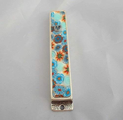 Mezuzah With Kosher Scroll, Handmade Floral Mezuzah case, Jewish Housewarming Gift, Mezuzah Cover Judaica gifts (Silver Scroll Plated Classic)