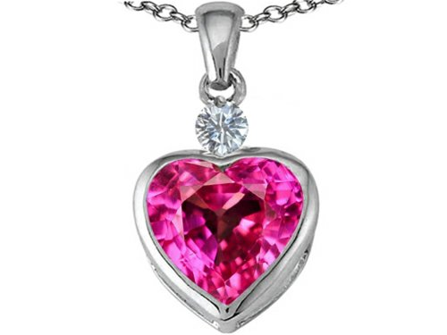 Star K 10mm Heart Shape Created Pink Sapphire Heart Pendant Necklace Sterling Silver (Created Pink Sapphire Heart Pendant)