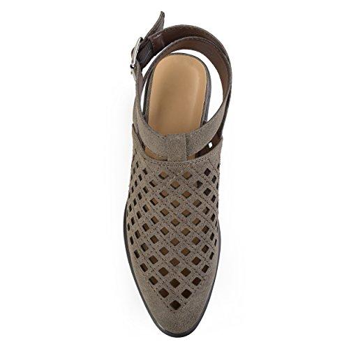 Collezione Journee, Stivaletti Alla Caviglia Con Taglio Laser Aperto Sul Retro In Pelle Sintetica Marrone