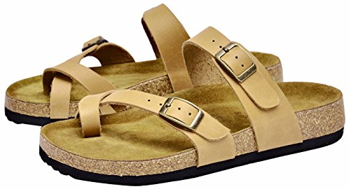 Strap Soft Cowhide Sandal lite Slippers U Flip Arch Support Womens Footbed Women Sandals Apricot Flops EqBIw8g