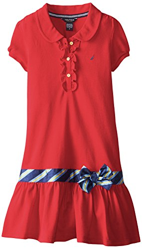 Nautica Big Girls' Pique Polo Dress with Gold Buttons, Dark Red, 7