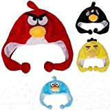 SET OF 4 COLORS ANGRY BIRDS HAT BLACK, RED, YELLOW & BLUE EARFLAP NEW