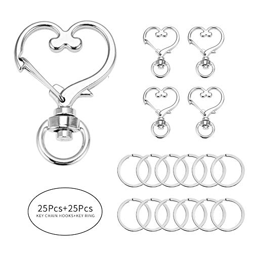 BAOBAO 50 PCS Metal Swivel Lobster Clasp Snap Hook with Key Rings - Heart Shape Key Tag