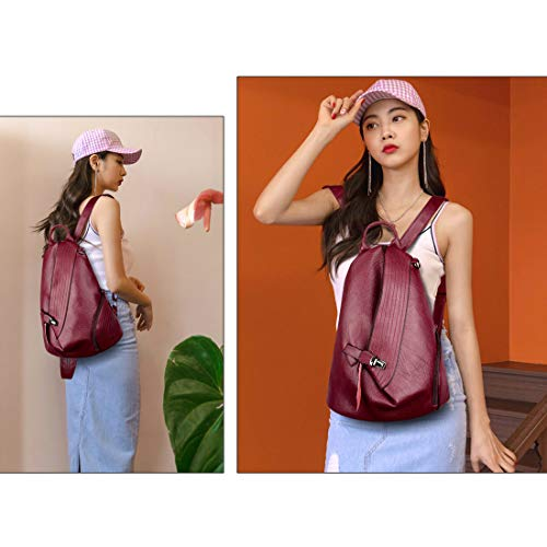 by Daypack Leather Alovhad theft Backpack Casual Purse Bag Backpack Red Women Anti 8avIwqz8x